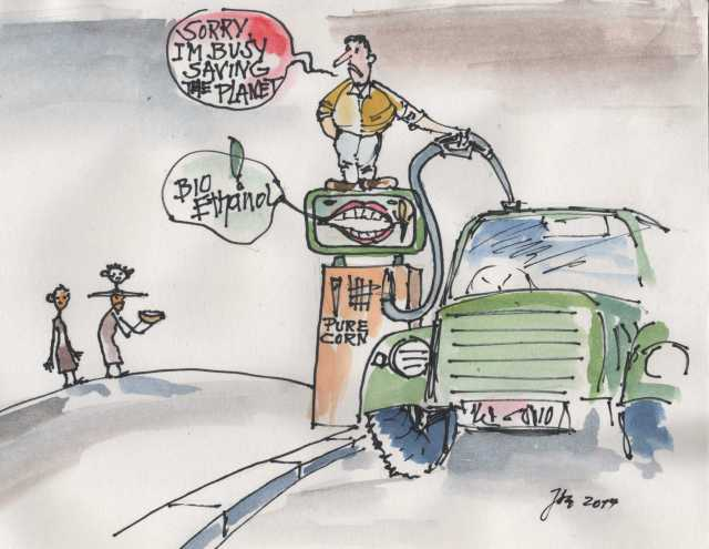 Cartoon_Bio Ethanol_standing on the gas pump